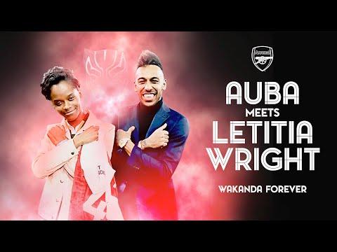 WAKANDA FOREVER! | Pierre-Emerick Aubameyang meets Black Panther actor Letitia Wright
