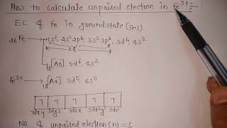 How to calculate unpaired electron in fe 3+