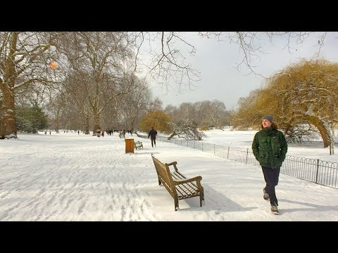 London Walk - ST JAMES'S PARK in the SNOW - England, UK