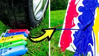 Car does Art! 15 DIY Projects Made by a Car! thumbnail