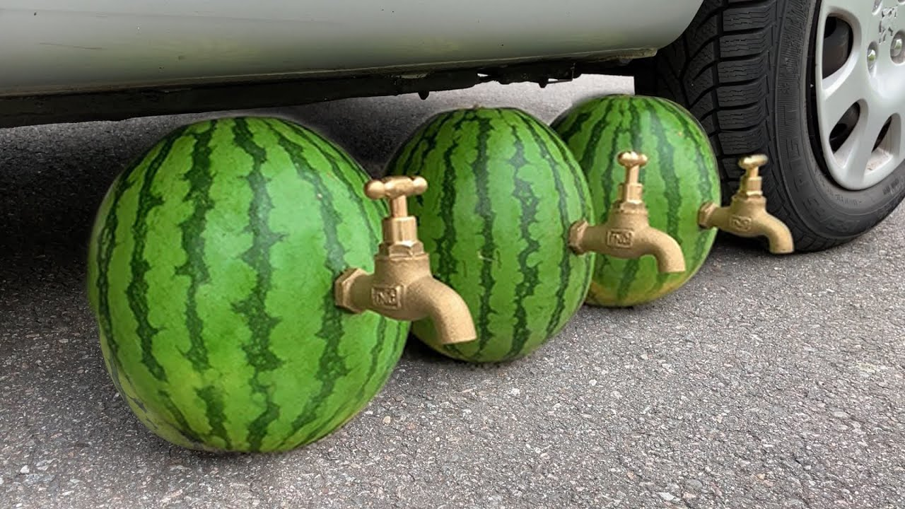 EXPERIMENT: Car vs Watermelon Juice - Crushing Crunchy & Soft Things by Car!