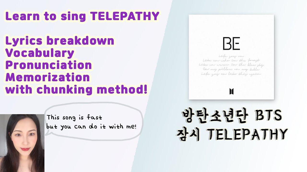 How to sing BTS Telepathy(잠시) 방탄소년단 Korean Pronunciation/Vocabulary/Memorizaton