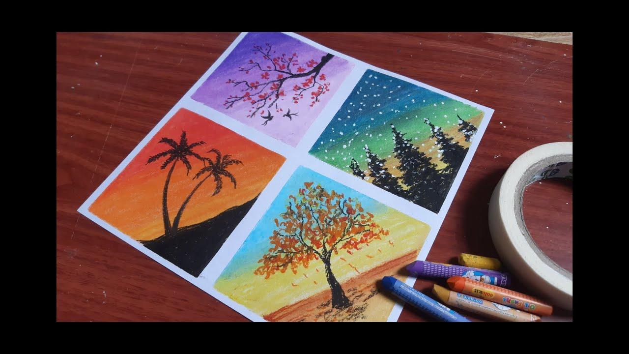 Dùng màu sáp dầu Doreamon vẽ tranh bốn mùa.