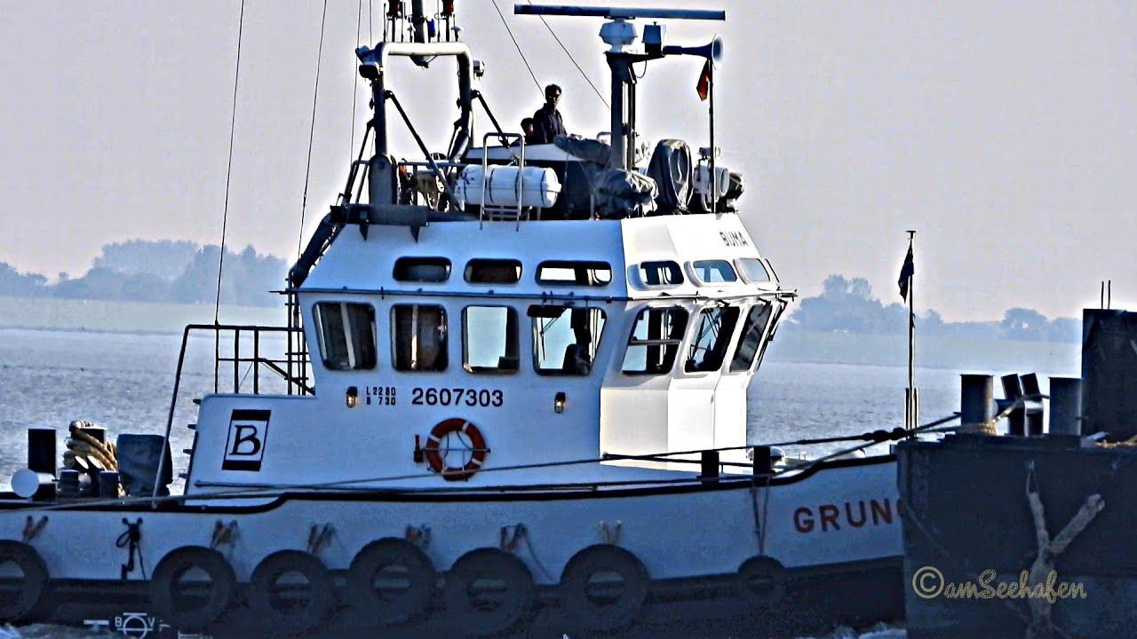 BIJMA Schlepper GRUNO 2 PELI & 4 PHEK mit Schwerlast EMSPONTON II tugs tow heavyload barge Emden