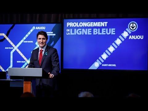 Prime Minister Trudeau makes an announcement regarding Montréal Metro's Blue Line extension