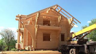 Деревянные дома из оцилиндрованного бревна. Отзывы(Сборка дома – это один из важных этапов строительства дома, к нему нужно отнестись очень ответственно., 2015-10-20T09:47:28.000Z)