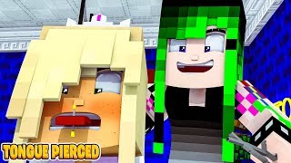 Little Donny's Daughter gets her TONGUE PIERCED.. Minecraft Adventure