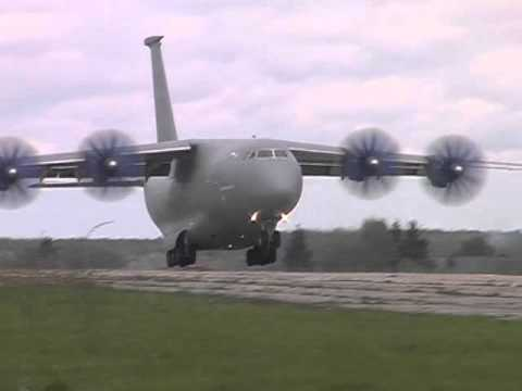 Antonov An-70 is landing in Gostomel town
