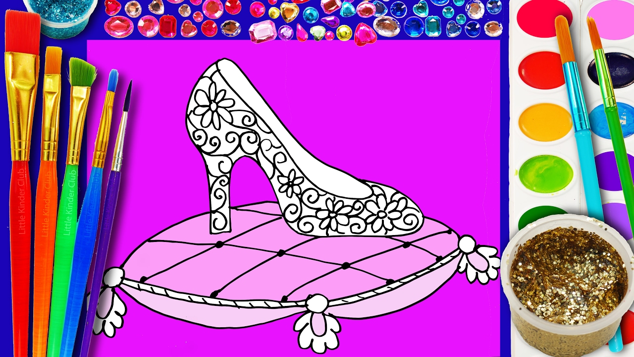 learn to color watercolor cinderella crystal slippers coloring page for kids princess sparkle shoes