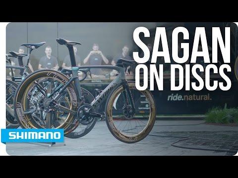 Peter Sagan riding with the new R9170 disc brake groupset | SHIMANO