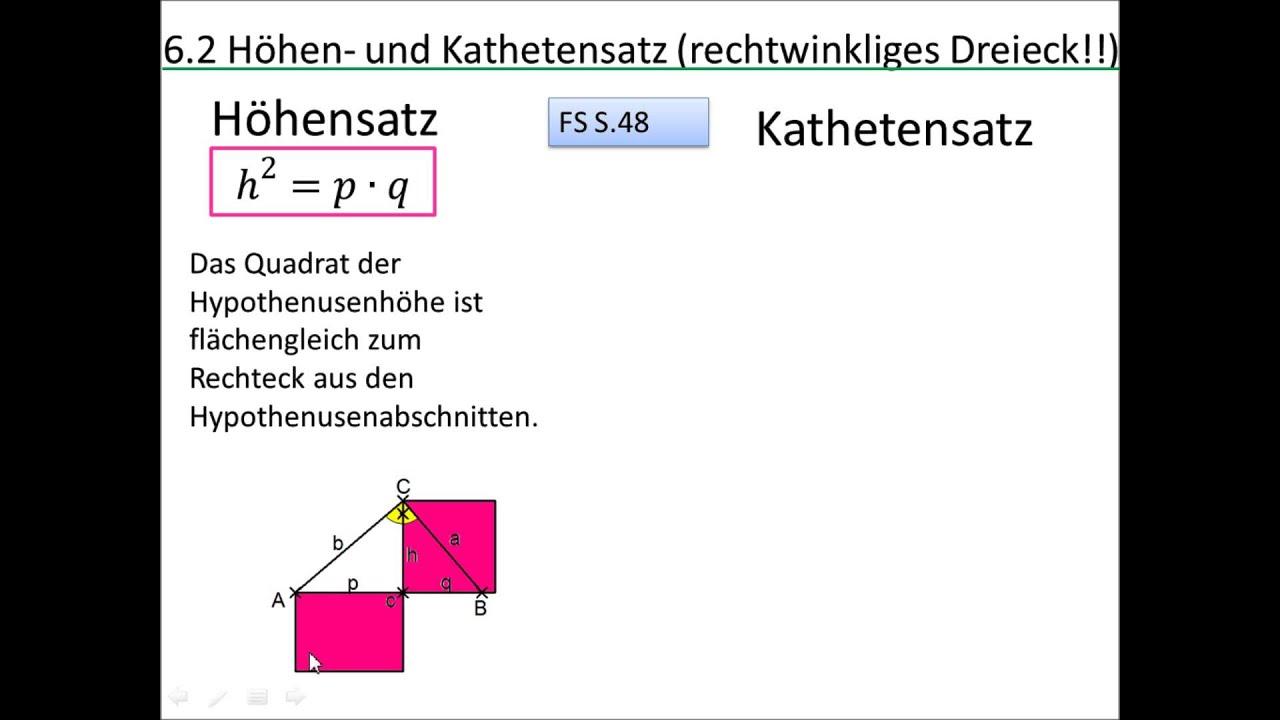 9.6.2 Höhen- und Kathetensatz - YouTube