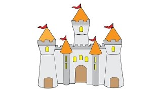 How to Draw a Castle Easy step by step / Как нарисовать замок(Draw4Kids channel created for those Kids who want to learn drawing, our lessons are easy to grasp and are shown in details how to draw cartoon characters, ..., 2017-01-09T10:30:14.000Z)