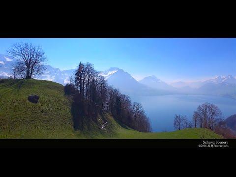 4K Lake Vierwaldstättersee, Schwyz  SWITZERLAND アルプス山脈
