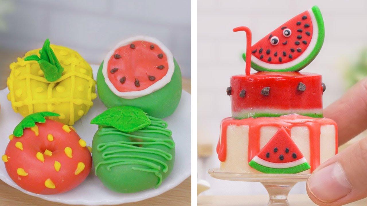 Top Trending Miniature Watermelon Cake Decorating | Fresh Miniature Fruits Cake Recipe For Summer