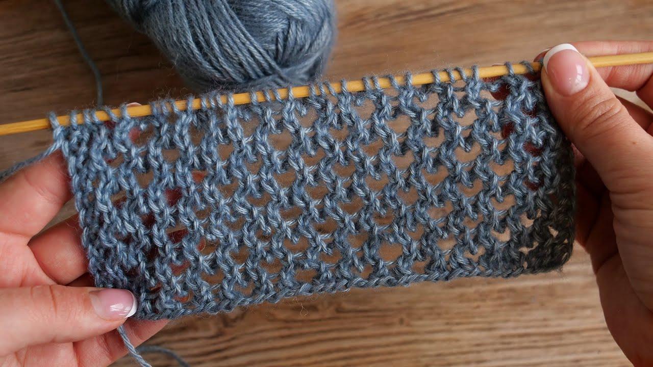 Невероятная сетка спицами 🕸 Rows of Eyelets knitting pattern