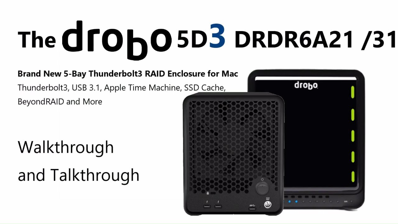 Brand New Drobo 5D3 5-Bay RAID Thunderbolt 3 Enclosure for Mac DRDR6A21 and  DRDR6A31