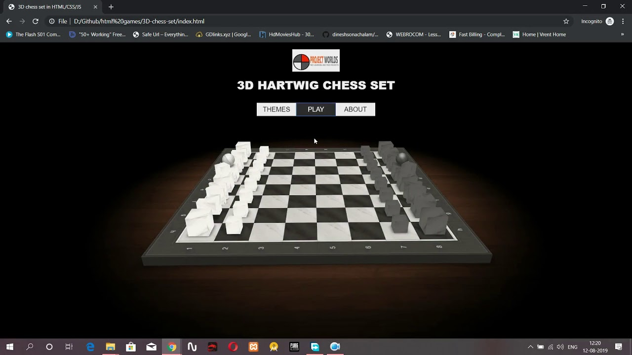 3D chess game html5 CSS and JAVASCRIPT Source Code