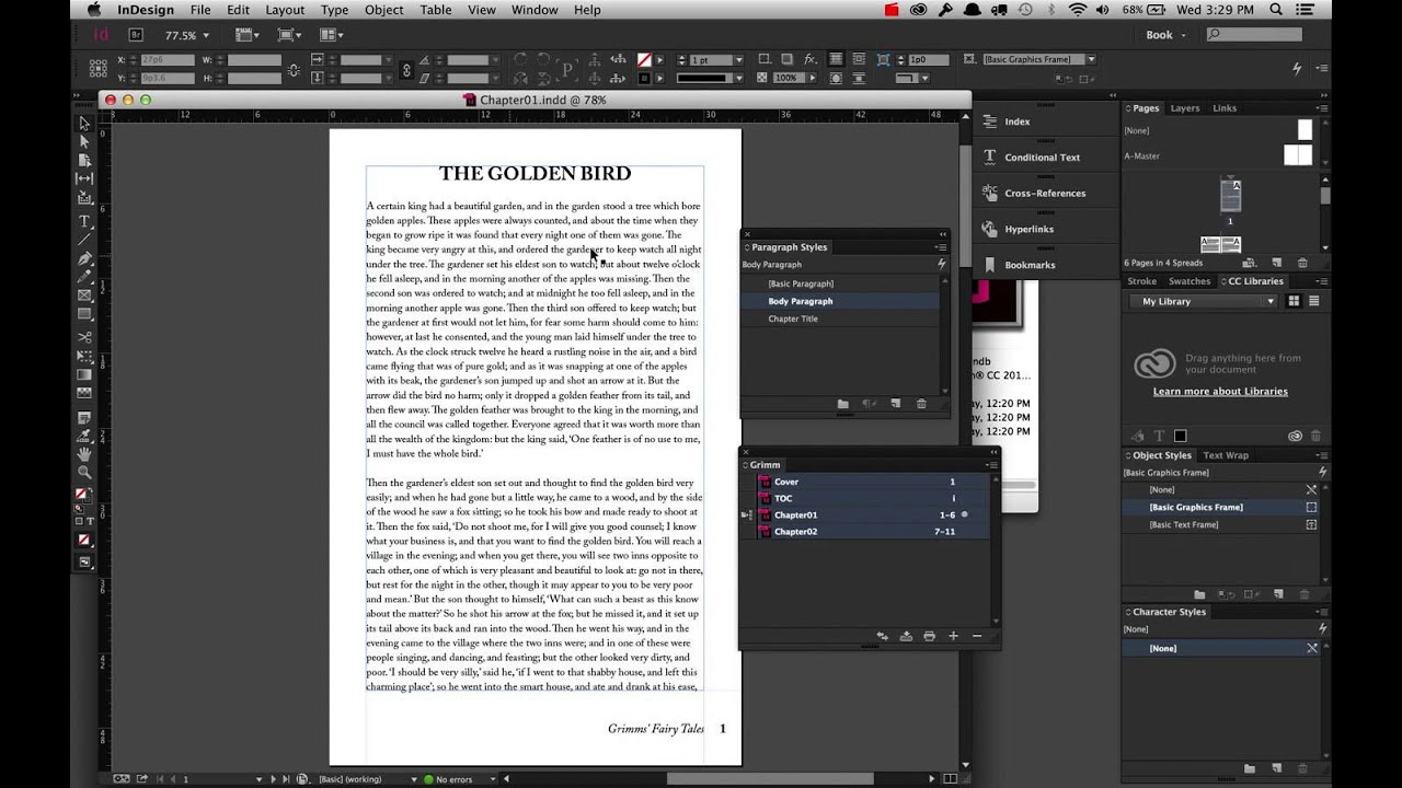 Preparing a Book for ePub Export in InDesign