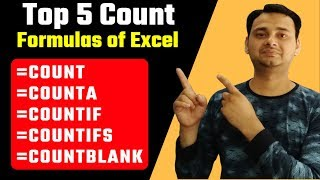 TOP 5 Excel Formulas in Hindi -- COUNT, COUNTA, COUNTIF, COUNTIFS, COUNTBLANK Excel Formula in Hindi