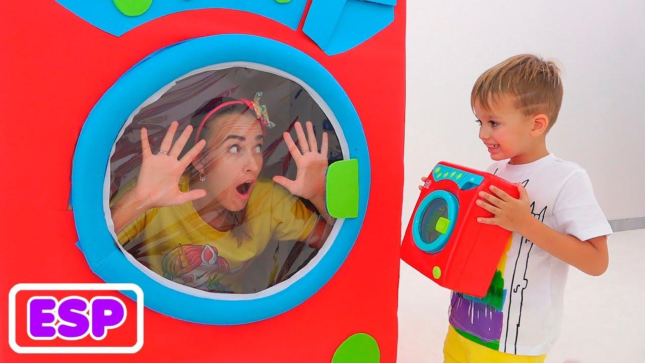 Vlad y Niki y una historia divertida con lavadora de juguetes