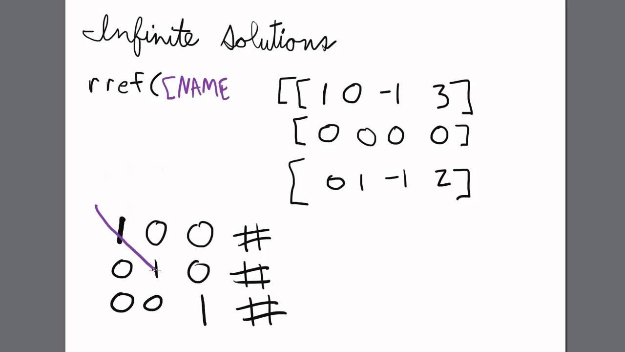 Solving a Matrix with Infinite Solutions TI 84 Calculator