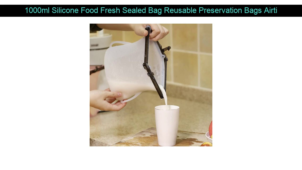 1000ml Silicone Food Fresh Sealed Bag Reusable Preservation Bags Airtight Storage Container Vacuum