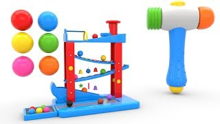 Learn Colors with Wooden Hammer Toys - Videos for Children