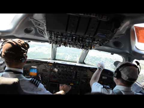 DC-8 73 series landing from cockpit,  IAH airport.  N602AL