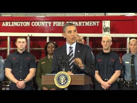 Pres. Obama Announces Funding for Fire Fighter Jobs - Fire Station 5 Arlington, VA