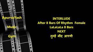 Mujhe Raat Din Bas Karaoke Lyrics Scale Lowered