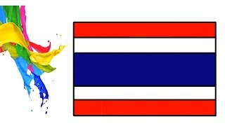 How To Draw The flag of the Kingdom of Thailand Coloring flag for Kids Learn Easily Step by Step Art