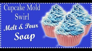 Cupcake Melt and Pour Soap Swirl Using Silicone Mold
