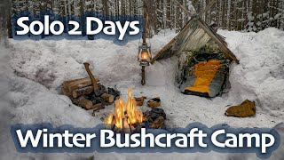 SOLO Two Days WINTER BUSHCRAFT Camp - Shelter in Snowfall - Lavvu Poncho - Spoon Carving