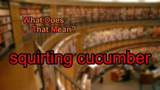 What does squirting cucumber mean? | What Does That Mean?