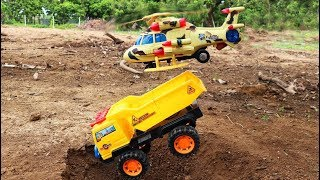 Construction vehicle accidents fall   helicopter Rescue cars toy.