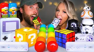 ASMR CANDY RACE *CHALLENGE* EDIBLE RUBIK'S CUBE CANDY, GAMEBOY, WII, STAR WARS SOUR CANDY MUKBANG 먹방