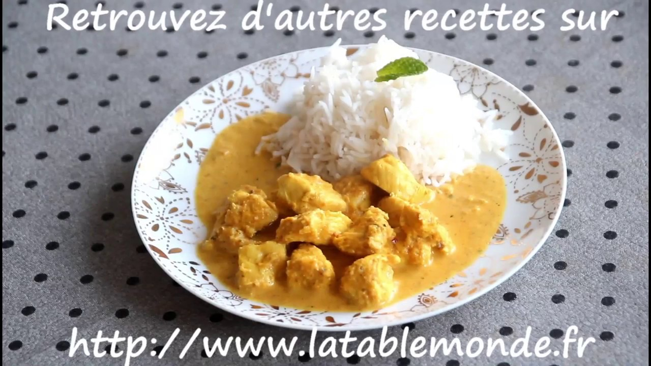 poulet korma chicken korma recette indienne youtube. Black Bedroom Furniture Sets. Home Design Ideas