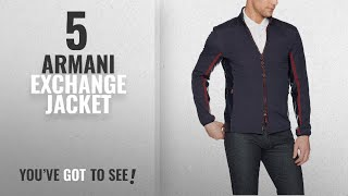 Top 10 Armani Exchange Jacket [2018]: Armani Exchange Men's Casual Leather Collar and Red Zipper