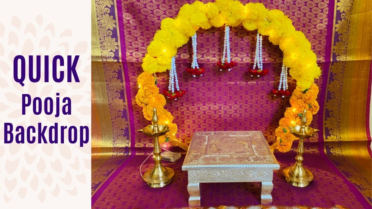 Quick Pooja Decoration Flower Decoration For Ganapati At Home Hula Hoop Pooja Decoration Vratham Youtube
