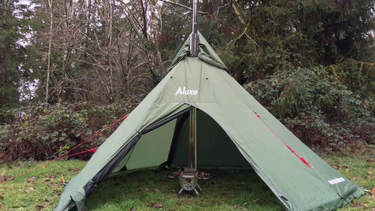YouTube Premium & Center Wood Stove Teepee Tent (Megahorn) Setting | Pipe Protector ...
