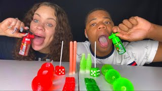 ASMR RED VS GREEN FOOD TIKTOK JELLY FRUIT, LEGO BLOCK JELLY, NIK-L-NIP WAX STICK, DICE CANDY MUKBANG