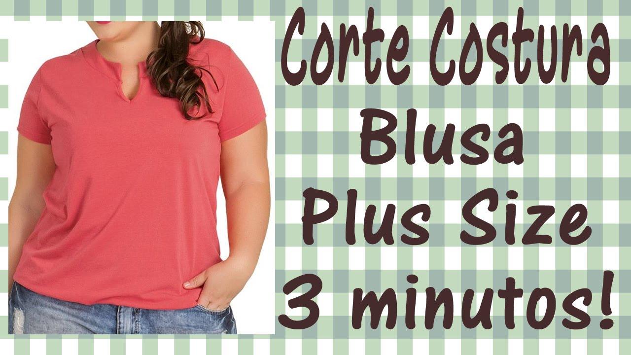 ddf420a5c9b63e Corte e Costura passo a passo - Blusa Plus Size em apenas 3 minutos e sem  molde!