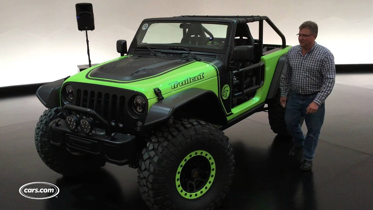 Jeep Fires Up Hellcat Powered Wrangler Trailcat Concept Youtube