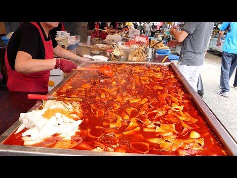 various foods popular on the korean market - tteokbokki / korean street food