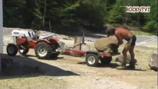 Sears Custom 7 Garden Tractor Building Granite Stone Retaining Wall