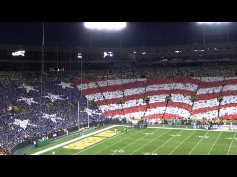 Green Bay Packers Patriotic Card Stunt - NFL Kickoff Game 2011