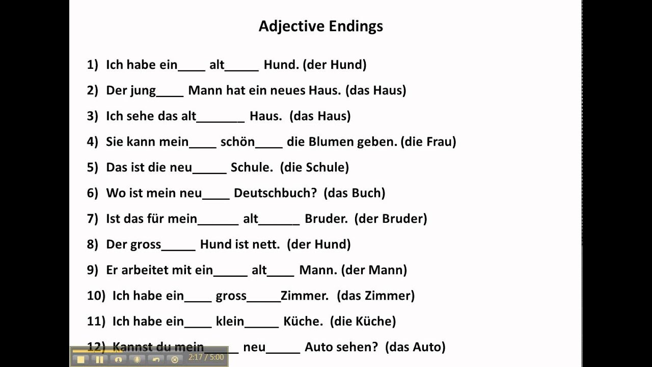 worksheet German Cases Worksheet practice with adjective endings in german www germanforspalding org youtube