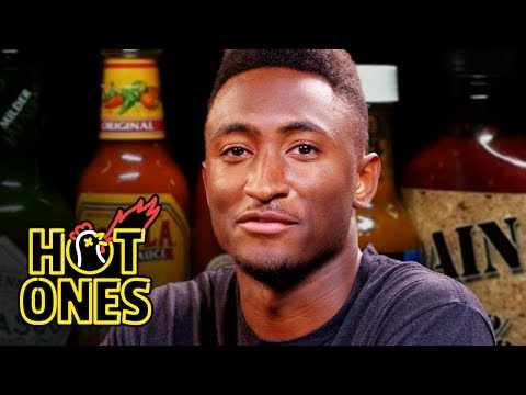 Marques Brownlee Ranks Hot Sauce Labels While Eating Spicy Wings  Hot Ones