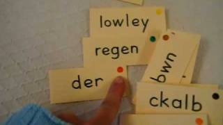 Grade 1 - Language Arts, Reading, Spelling game: Unscramble color words.