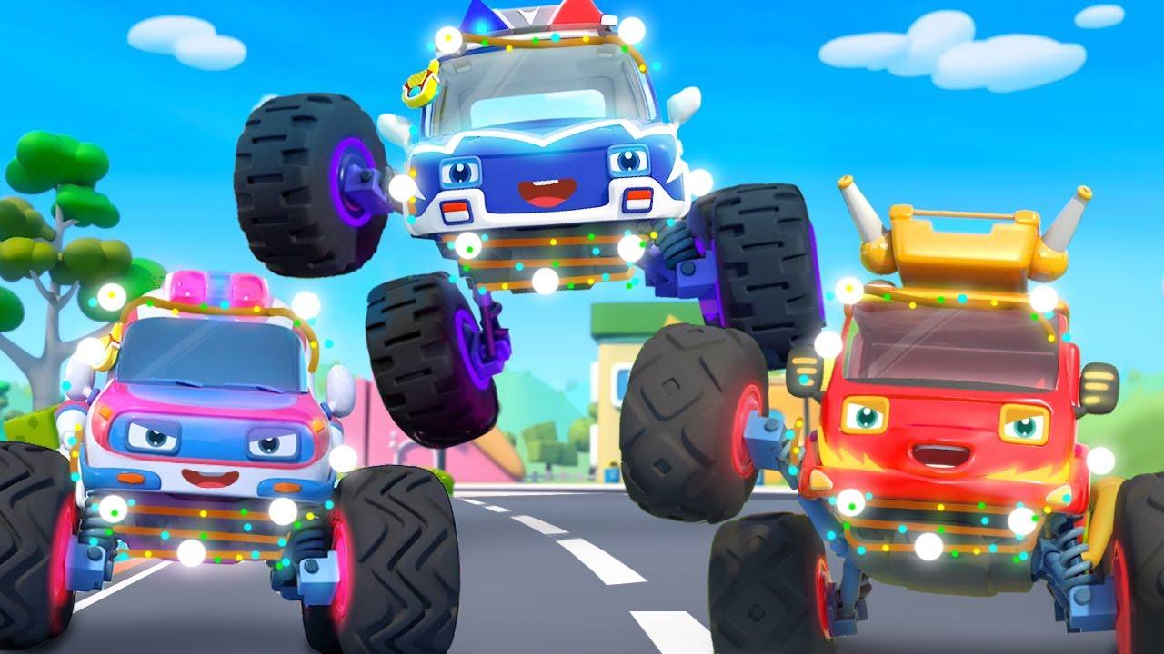 かがやくモンスターパトカーVSモンスターアクトウカー☆はたらく車 のりものの歌 | 赤ちゃんが喜ぶ歌 | 子供の歌 | 童謡 | アニメ | 動画 | ベビーバス| BabyBus